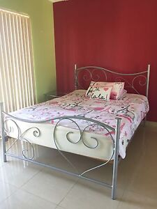 Queen bed, glass table, bed-side table, lamp, clock and clothes rack! Bankstown Bankstown Area Preview