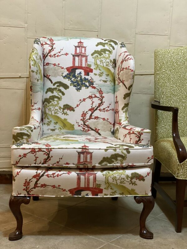 Vintage Set Asian Chinoiserie Pagoda Chippendale Sofa Chairs Refurbished