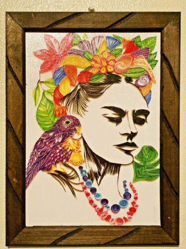 "Art Frame Print/Painting Mexico Frida Kahlo portrait 17"" x 13"" Large size"