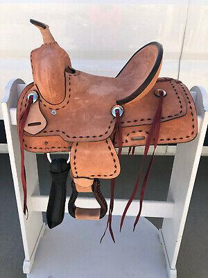 "13"" New Western Leather Youth Child Horse Pony Ranch Saddle"