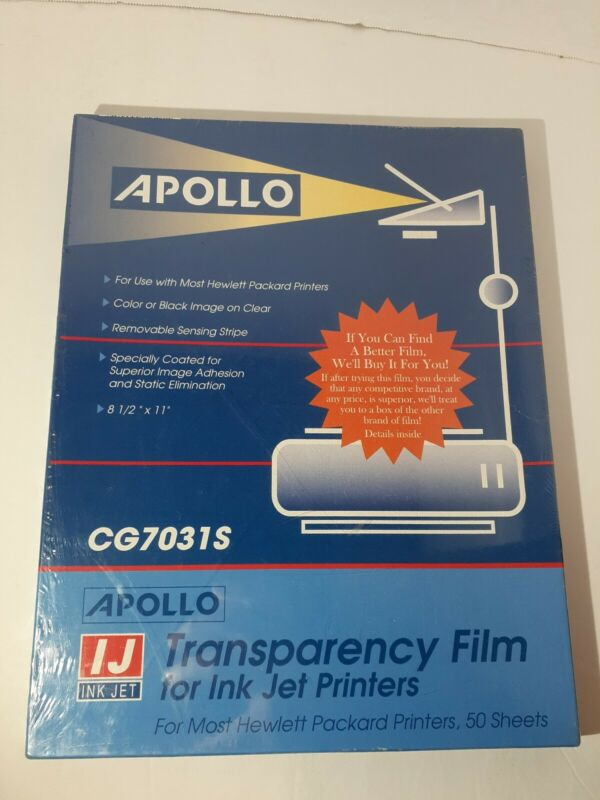 (PL) Apollo® Quick-Dry Color Inkjet Transparency Film w/Handling Strip - Sealed!