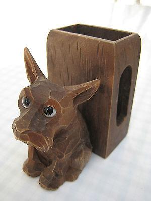 Art Deco Streichholzschachtel Halter  Foxterrier Holz Glasaugen Hund
