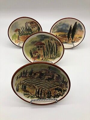 4 Williams Sonoma Tuscan Landscape Small Oval Cocktail Dipping Bowl Dish Set