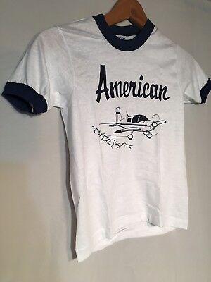 American Plane White Blue Ringer Vintage 80s Children Medium 10-12 T-shirt NEW Blue Kids Ringer T-shirt