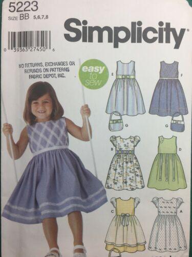 Simplicity 5223 GIRLS DRESS Wrights Easter Dress Sun Dress Simplicity Size 5-8