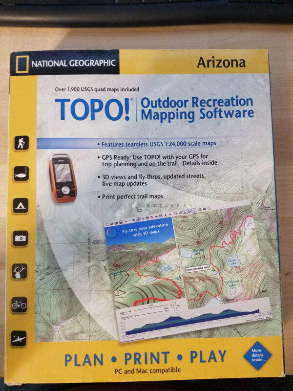 TOPO! National Geographic Arizona USGS Topographic Maps CD-ROM 2007
