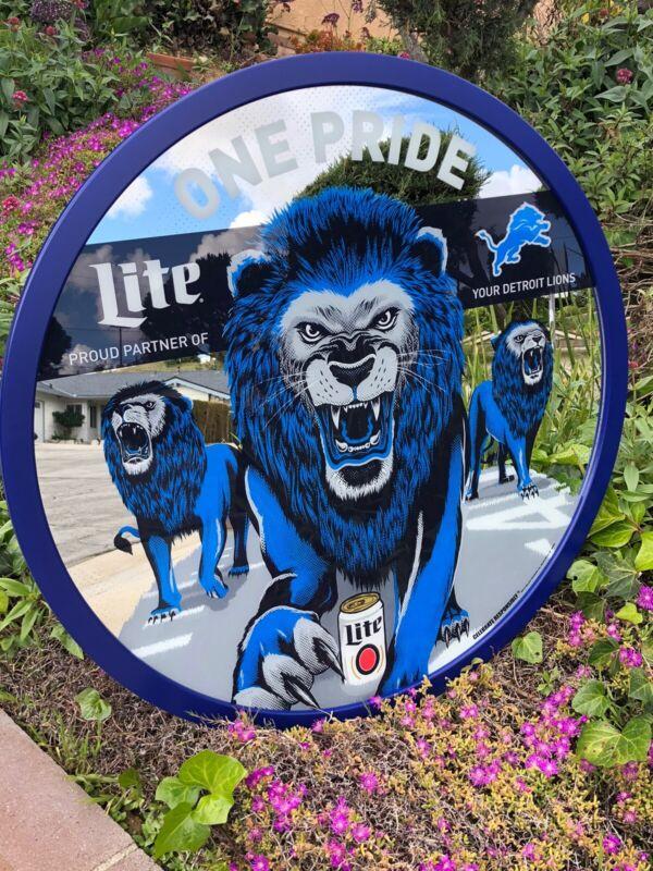 "Miller Lite Detroit Lions NFL Football Beer Bar Pub Man Cave Big Mirror  ""New"""
