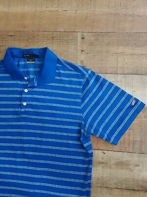 Nike Tiger Woods  Collection Golf Polo Shirt Men's Size Medium Blue Stripes