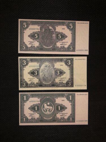 Chechnya set 1,3,5 naxar 1995  rare banknotes reproduction copy  with watermarks