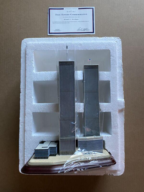 Danbury Mint Twin Towers Commemorative in original plastic and box w/certificate