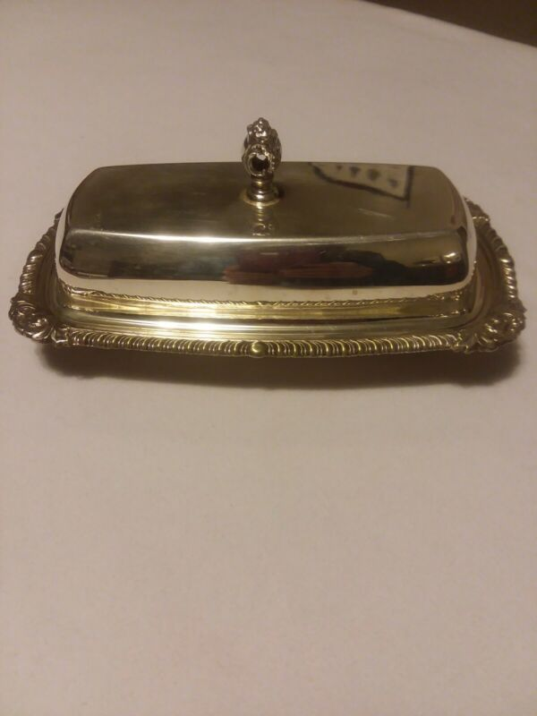 """Vintage Butter Dish Silver Plated W Lid 7 1/2"""" L x 4 1/4"""" W x 3 1/2"""" H Polished"""