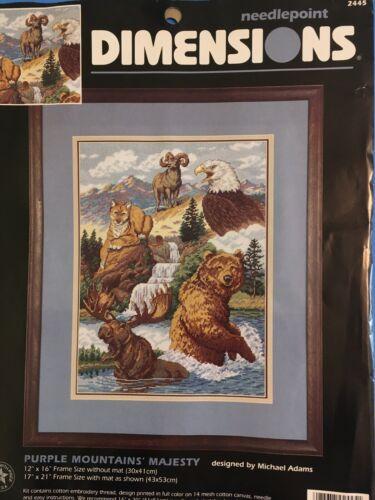 Needlepoint Kit Purple Mountains Majesty Ram Eagle Bear 12x16 Dimensions Rare