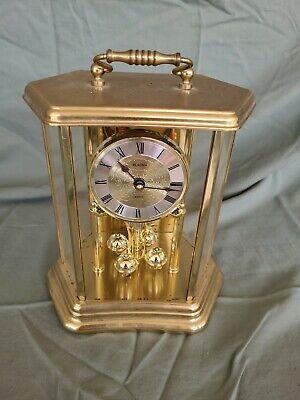 "Vintage Bulova Anniversary Mantel Clock Hexagon Carriage Style Brass NICE 9 x 7"""