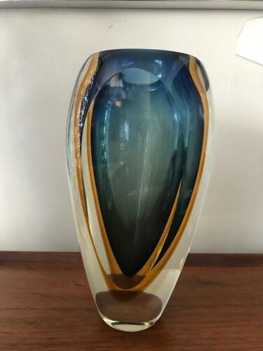 "Modernist Art Murano Blown Glass Vase Blue Orange Amber 8.5"" tall 5lbs"