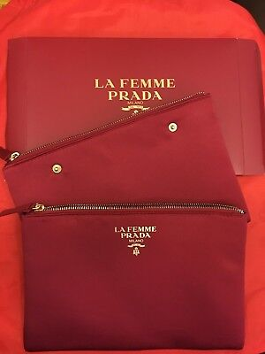 PRADA femme Burgundy Gold satin Makeup Hand Bag clutch double Snap Together NEW