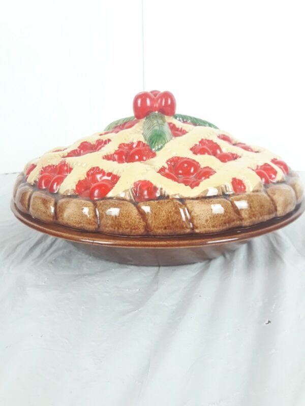 Vintage Ceramic Cherry Pie Dish With Lid Made In Portugal