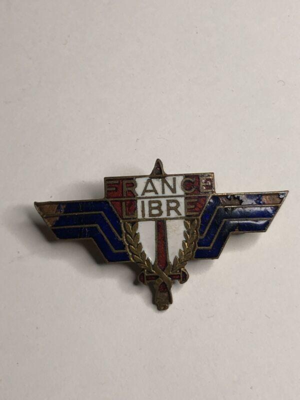 Original French Wwii Enameled Badge Free French