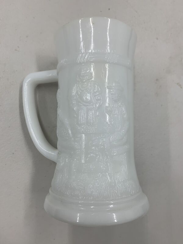 Vintage Federal Feg9 Milk Glass White German 12 ounce Beer Stein Mug Tankard