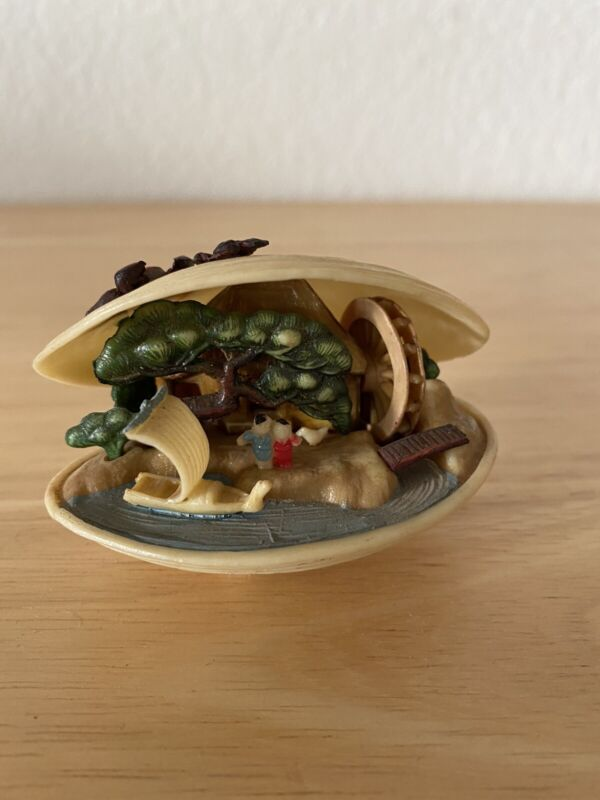 Vintage Celluloid Japanese Clam Shell Diorama with moving Water Wheel