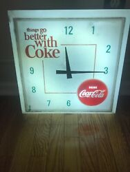 Vintage Things go better with Coke large Lighted Coca Cola Wall Clock