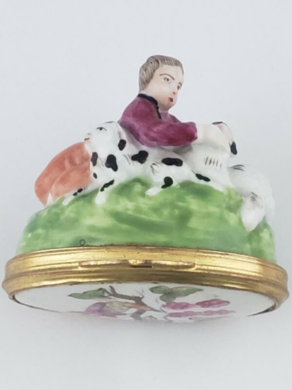 Rare antique French Porcelain Figural Snuff Box, Shepherd Boy with Dog & Sheep