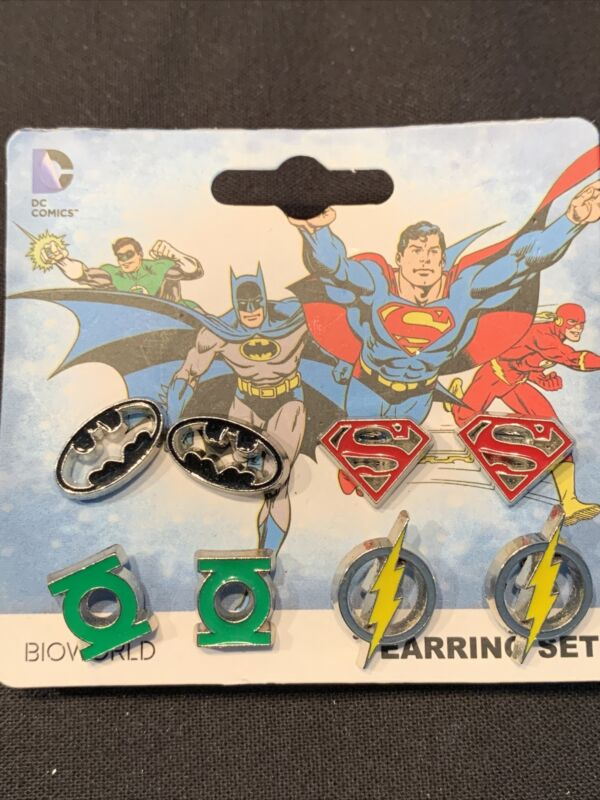 Justice League Earrings Set Batman Superman Green Lantern Flash DC Comics NWT