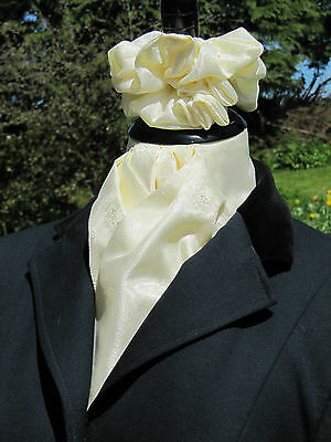 Ready Tied Buttermilk Cream Paisley Satin Riding Stock and Scrunchie - Dressage