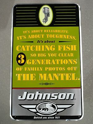 """Johnson Outboard Motor Sign Pre-Bankruptcy Vintage """"Its About Reliability...""""  B"""