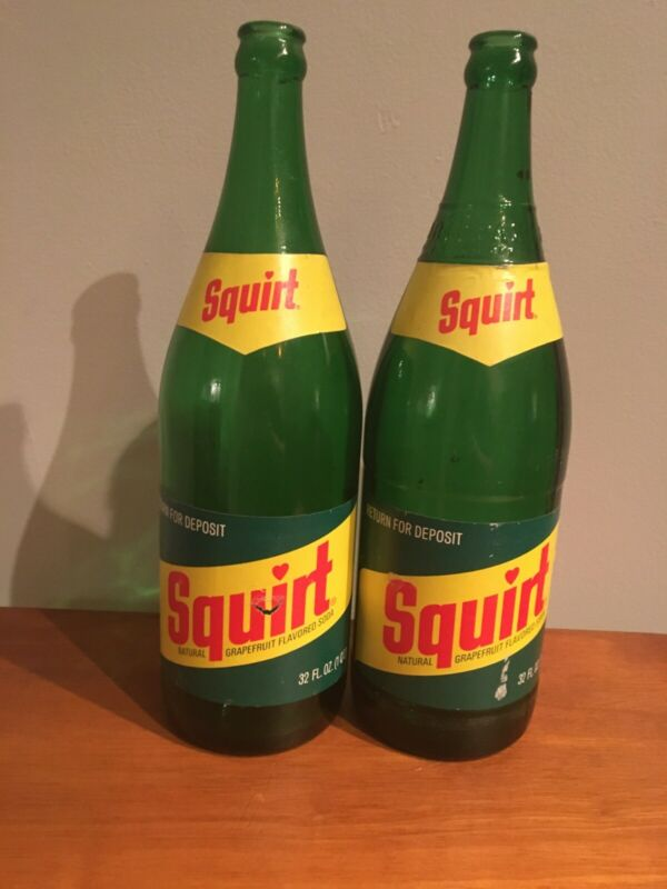Vintage Pair of Squirt Quart Soda Bottle
