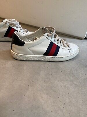 GUCCI Womens Ace Leather Sneakers Size 37 (fits UK 4-4.5)