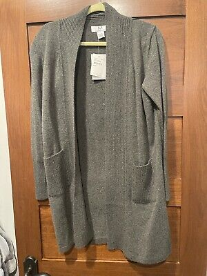 $390 Magaschoni Long Cashmere Gray Cardigan L - Extremely Soft