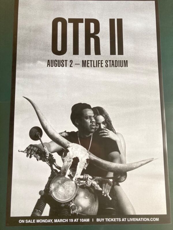 Jay Z & Beyonce On The Run 2 Concert Promo Poster Aug 2 24x36 RARE NYC OTR II
