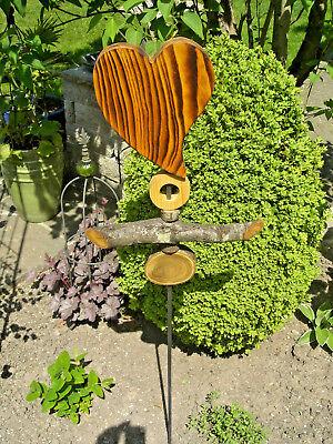 """Gartenstecker """"Herz"""", Fichtenholz, Handarbeit, auf Eisenstange, Höhe 115 cm"""