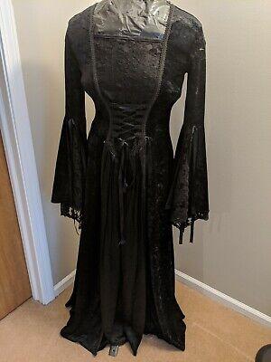 Black Corset Halloween Costume (Lip Service M Black Velvet Lace Corset Goth Dress Gown Halloween Costume Witch)