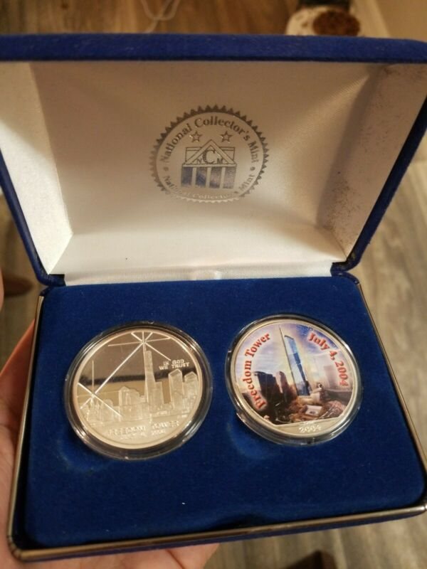 Twin Towers 2-Coin Set, 2 Ounces .999 Fine Silver WTC Recovery, Freedom Tower