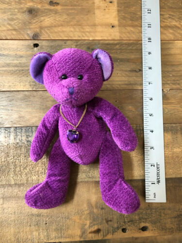 """Russ Berrie Plush Bear of The Month February Purple Amethyst About 9"""" Tall"""
