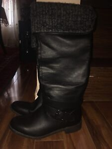 'Justfab' Black Leather Boots - Brand New Never Worn