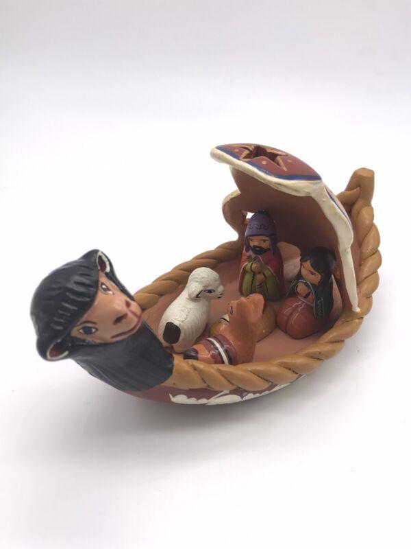Peruvian Clay Nativity Canoe Mary Joseph & Baby Jesus Religious Christmas Sheep