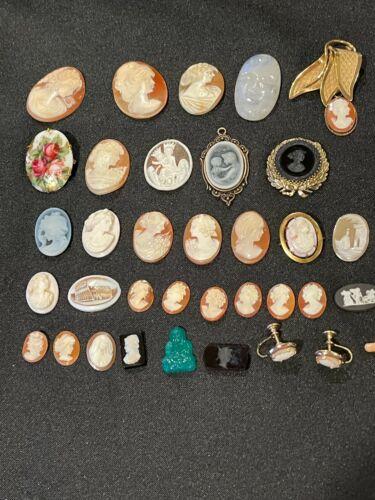 Antique Jewelry Lot Of 34 Cameos including 48 carat GENUINE MOONSTONE CAMEO