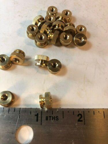 """#6-32 Knurled Round Thumb Nut Brass 1/4"""" Tall QTY-50"""