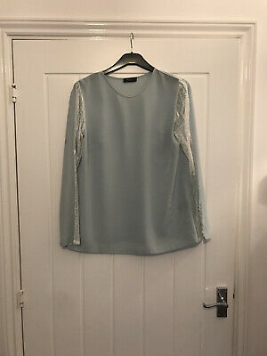 paul smith Black Label Silk Lace Top Buttoned Sleeves Sz 44 Blue £££