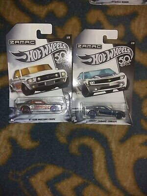 2 lot 2018 Hot Wheels Zamac #1 67 Ford Mustang Coupe #2  Chevy Camaro concept