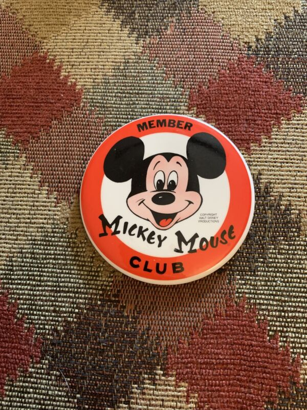 Vintage MICKEY MOUSE CLUB MEMBER Large 3 Inched Diameter BUTTON PIN Walt Disney