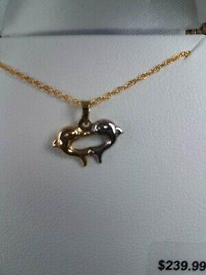 10K Yellow & White Gold Two Dolphin Pendant - With 18