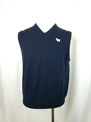 PETER MILLAR Scotty Cameron Mens Size Large Blue Vee Neck Wool Sweater Vest