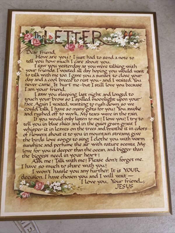 """""""Letter from a Friend"""" wall hanging/plaque - Jesus - Religious - Poem VG++"""