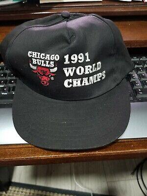 Vintage Chicago Bulls 1991 World Champs Hat Cap Snapback Black