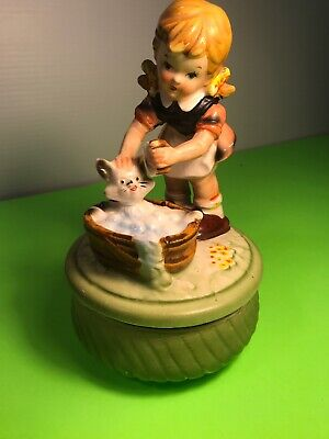 Vintage Price Porcelain Girl Washing Cat Figurine, Wind Up Musical, Rotating