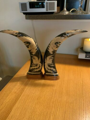 """Pair of Long 16"""" Water Buffalo Horns Carved with Dragon and Phoenix on a Wooden"""