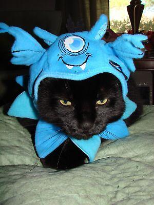 Pet Halloween Costume Blue One Eyed Monster Hat Ruffled Collar Dog Cat XS SM - One Eyed Monster Halloween Costume